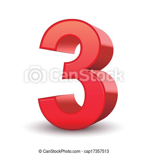 3D glänzende rote Nummer 3 - csp17357513