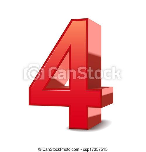 3d, glänzend, 4, rotes , zahl - csp17357515