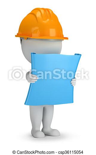 3D kleine Leute - Bauarbeiter mit dem Plan - csp36115054