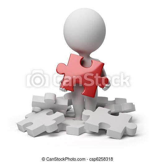 3d kleine Leute - fanden Rätsel - csp6258318