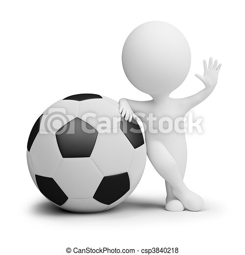 3d kleine Leute - Fußballspieler mit dem großen Ball - csp3840218
