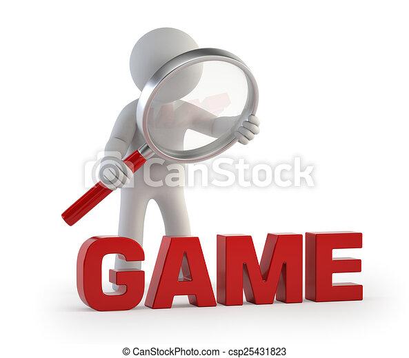 3d kleine Leute - lupe GAME. - csp25431823
