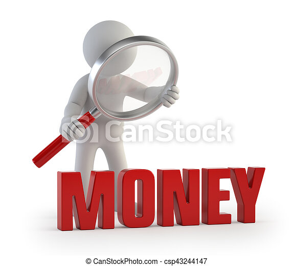 3d kleine Leute - lupe Geld. - csp43244147