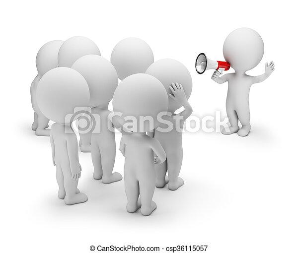 3D kleine Leute - mit der Menge reden - csp36115057