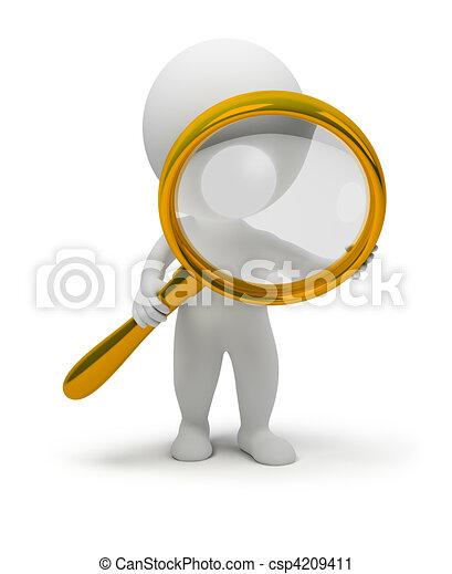 3d kleine Leute mit einem Magnifier - csp4209411