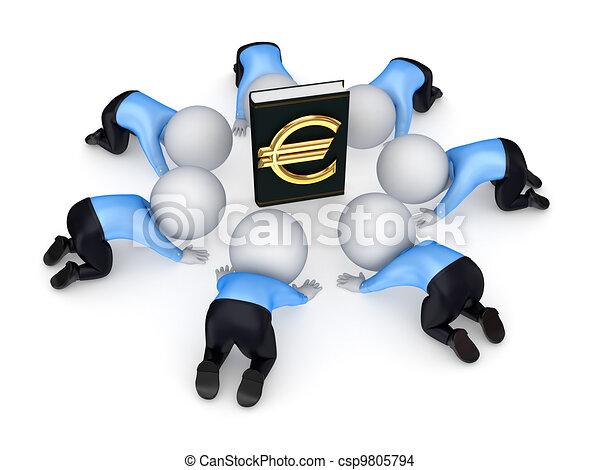 3d kleine Leute rund um das Buch mit Euro-Symbol. - csp9805794