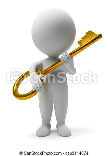 3d kleine Leute - Schlüssel - csp3114674
