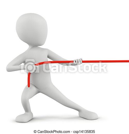 3D kleine Leute - Seil ziehen. - csp14135835