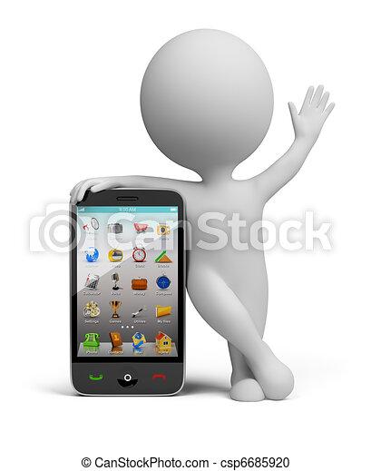 3d kleine Leute - Smartphone - csp6685920