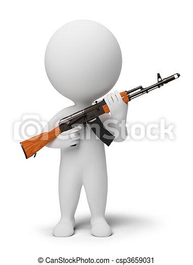 3d kleine Leute - Soldat mit Ak74 - csp3659031