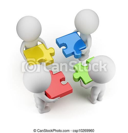 3d kleine Leute - Team mit den Rätseln - csp10269960