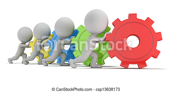 3d kleine Leute - Team mit Gängen - csp13638173