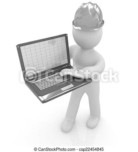 3D kleine Menschen - ein Ingenieur mit dem Laptop. - csp22454845