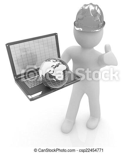 3D kleine Menschen - ein internationaler Ingenieur mit dem Laptop und. - csp22454771