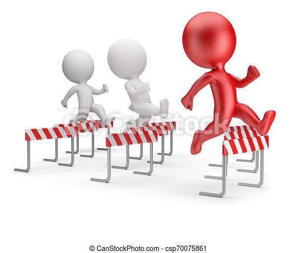 3d kleine Menschen - laufen mit Hindernissen - csp70075861