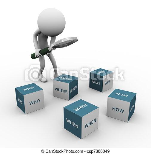 3d Mann und Frageworte - csp7388049
