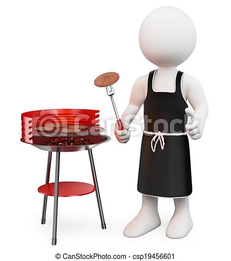 3D-Weiße. Barbecue - csp19456601