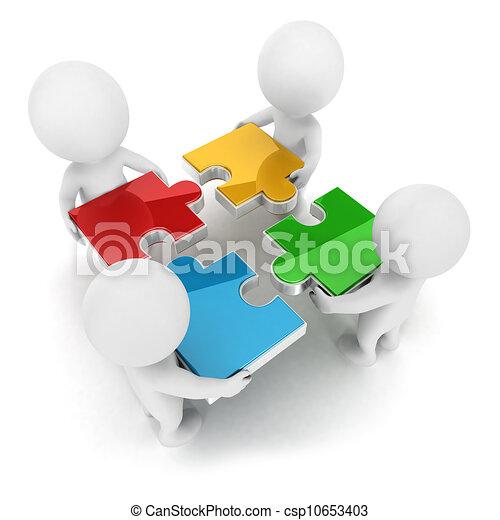 3d weiße Leute, Team-Puzzle - csp10653403