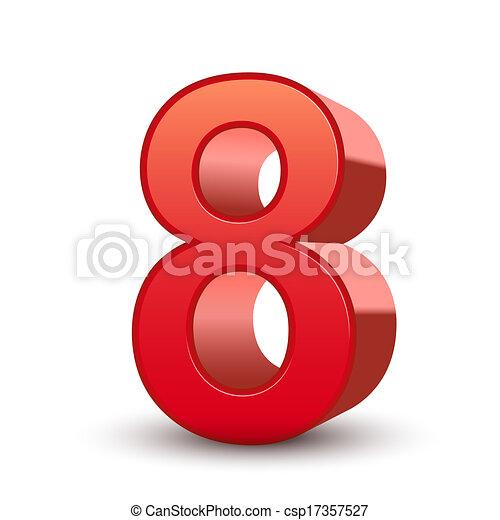 3fache rote Nummer 8 - csp17357527