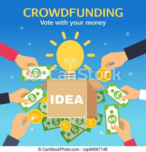 abbildung, vektor, crowdfunding - csp94067148