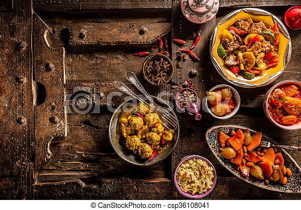 altes , geschirr, hölzern, traditionelle , tisch, tajine - csp36108041