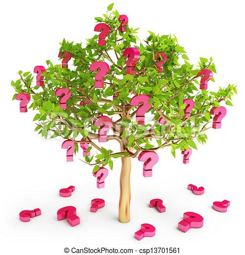 Anfragen werden auf einem Baum gedeiht und stellen häufig Fragen - csp13701561