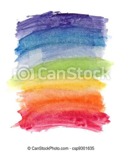 Abstrakte Wasserfarben-Regenbogenfarben im Hintergrund - csp9301635