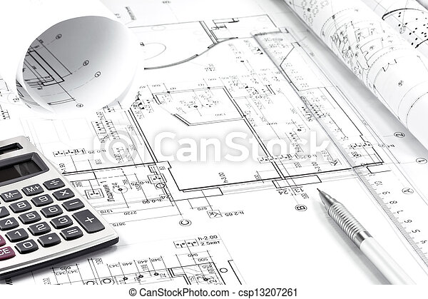 Architekturzeichnung und Instrumente - csp13207261