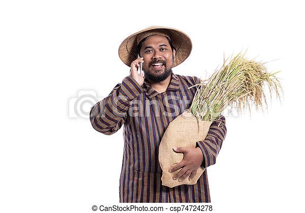 aus, beweglich, asiatisch, landwirt, telefon, weißes, freigestellt, gebrauchend - csp74724278