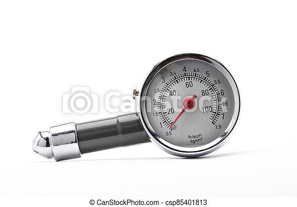 auto, messen, hintergrund, messgerät, druck, reifen, luft, weißes - csp85401813