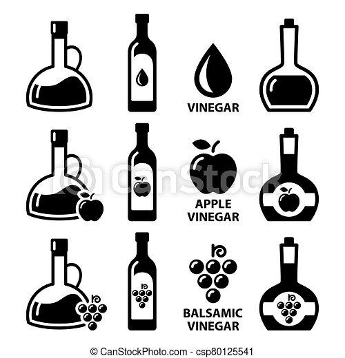balsamic, flaschen, apfel, essig, ikone, apfelwein, vektor, design, -, satz - csp80125541