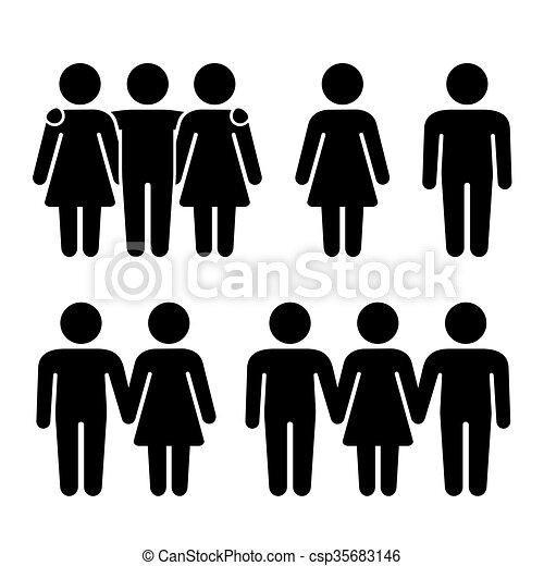 Allein, zwei und drei menschliche Ikonen. Sexuelle Beziehungen. Vector - csp35683146