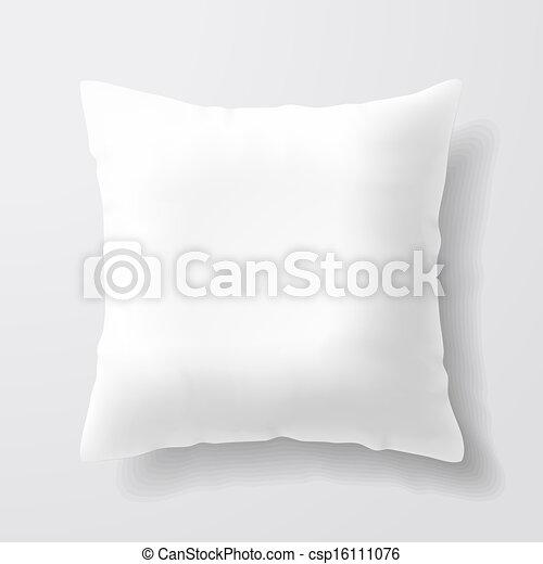Blankes, weißes Kissen. - csp16111076
