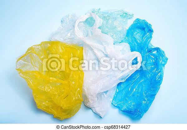 blaues, säcke, begriff, plastik, hintergrund, verwerten wieder, verunreinigung - csp68314427