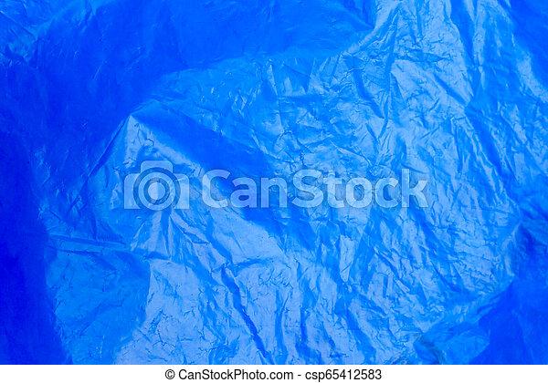 Abstract Hintergrund-Crumpled Plastik Film Textur blauer Müllbeutel - csp65412583