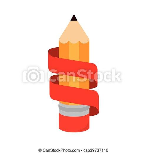 bleistift, ikone, freigestellt, geschenkband, schreibende - csp39737110