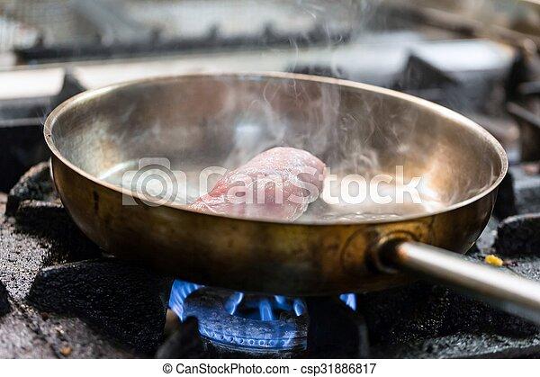 braten, kochen, fleisch, pfanne - csp31886817