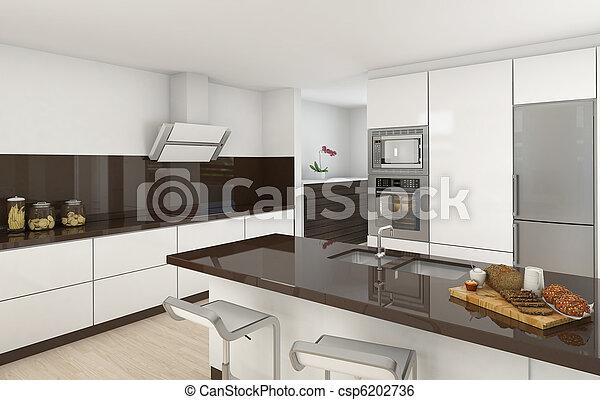 Moderne Küche, weiß und braun - csp6202736