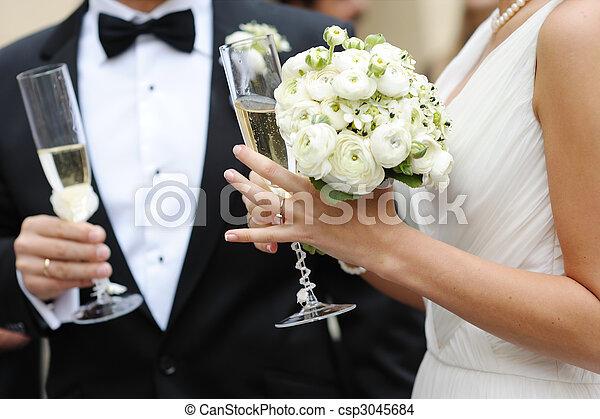 Braut und Bräutigam halten Champagnergläser - csp3045684
