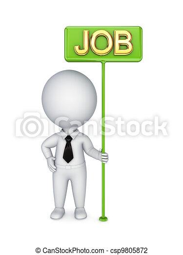 bunner, person, grün, job., 3d, klein - csp9805872