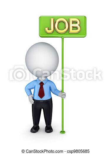 3d kleine Person mit einem grünen Brötchen-Job. - csp9805685
