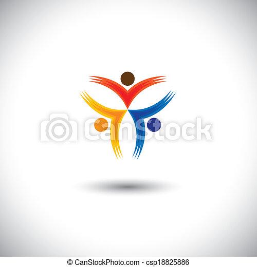 Colorful Happy & aufgeregt Menschen Vektor-Icons - Konzeptgrafik - csp18825886