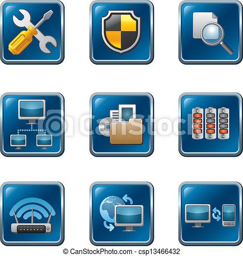 Computer-Netzwerk-Icon eingestellt. - csp13466432