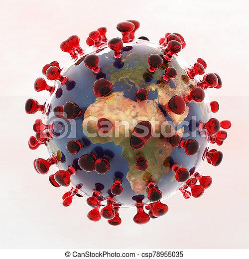 coronavirus, künstlerische abbildung, 3d - csp78955035