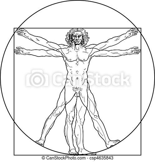 Der vitruvianische Mann (Outline Fassung) - csp4635843