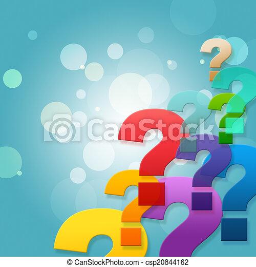 Die Fragezeichen zeigen häufig gestellte Fragen und stellen. - csp20844162