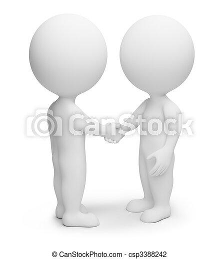 Drei kleine Leute - Händeschütteln - csp3388242