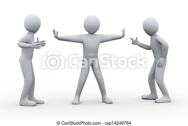 Dreiter Mann zwischen kämpfenden Menschen - csp14249764