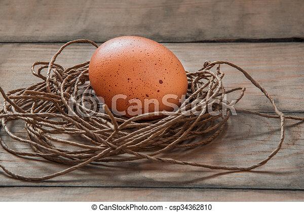 Eier in einem Nest. - csp34362810