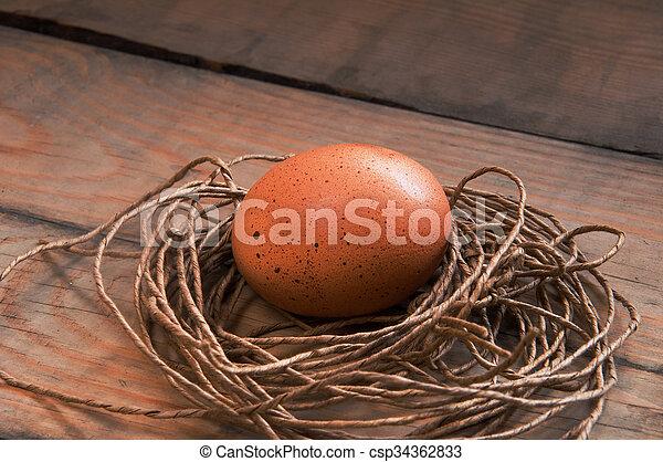Eier in einem Nest. - csp34362833